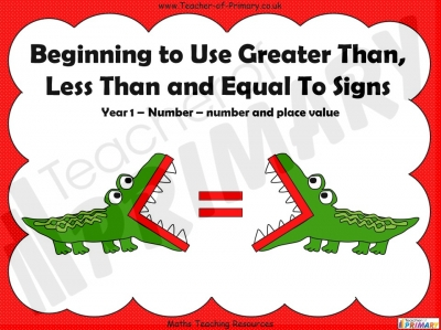 Beginning to Use Greater Than, Less Than and Equal To Signs - Year 1