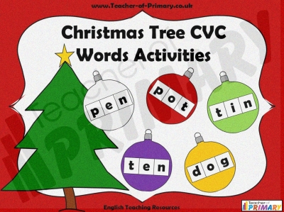 Christmas Tree CVC Words Activities