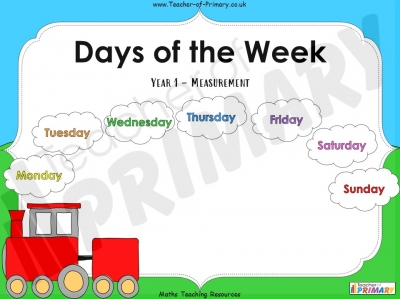 Days of the Week - Year 1 Measurement